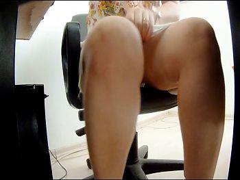 Upskirt under desk
