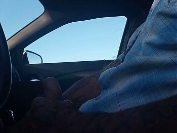 Dickflash for a mature lady at the truck stop on hidden cam