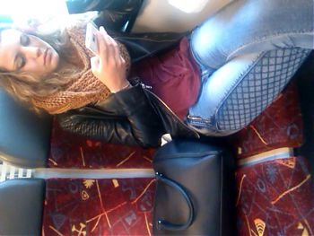 beautiful teen in the train
