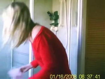 Blonde Showering in front of hidden cam