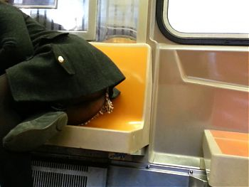 Candid upskirt booty on train of NYC