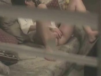 Hidden cam - Trough window-Teen masturbates on couch