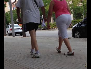 Walking big butt women.