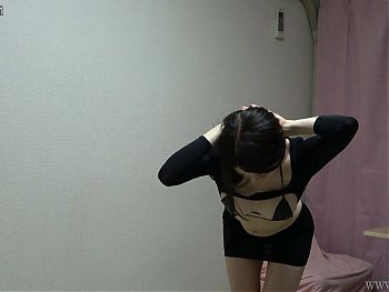Glamorous Japanese Girl in Sexy Lingerie and Changing Clothes