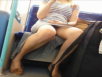 Royal Blue Panties Upskirt on Train